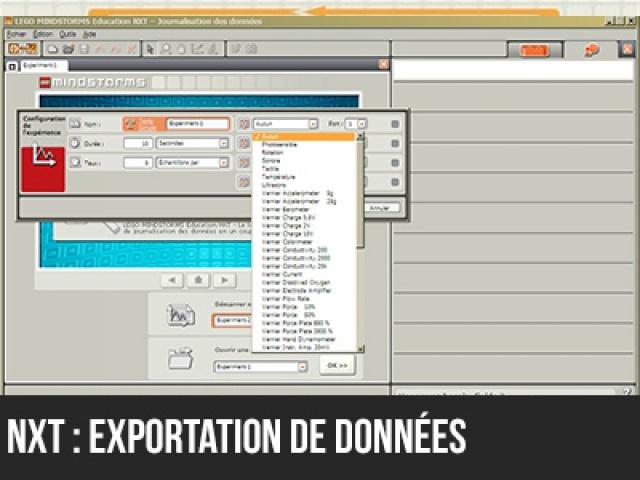 NXT : Exportation de données du logiciel de journalisation
